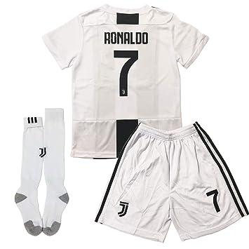 GLL SPORT New 2018-2019 Home Juventus #7 Ronaldo White Soccer Football Jersey for Kids Youth Shirt Short Socks Kit