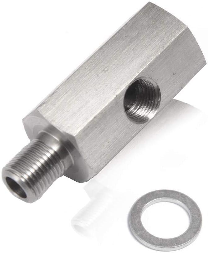 QISF 1//8 NPT Oil Pressure Sensor Tee to NPT Adapter Turbo Stainless Steel Adapter Turbo Supply Feed Line Gauge Hydraulic