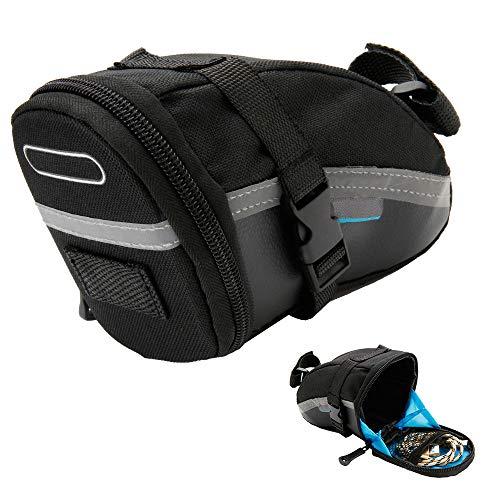jxjarnet 1.2L Bike Saddle Bag, Bike Seat Saddle Wedge Pack Pannier Back Seat Pack Storage Bag Bicycle Repair Tools…