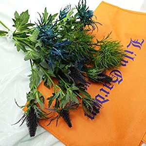 Lily Garden 6 Long Stems Artificial Eryngo Thistles Bunch of Flowers Plants for Home Decor Centerpieces 7