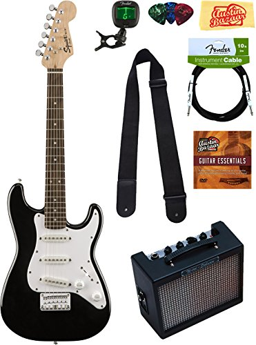 Squier by Fender Mini Strat Electric Guitar - Black Bundle with Amplifier, Instrument Cable, Tuner, Strap, Picks, Austin Bazaar Instructional DVD, and Polishing Cloth by Squier
