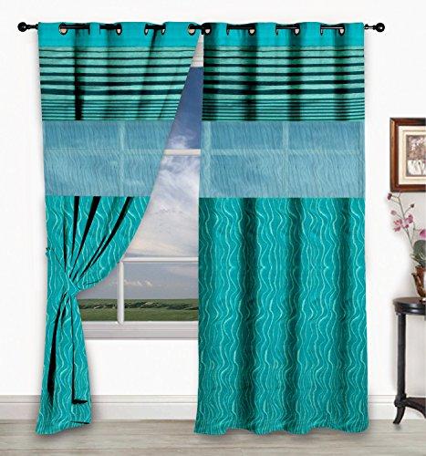 Story@Home 1 PC Jacquard Eyelet Window Curtain Rintop, 5 ft Aqua