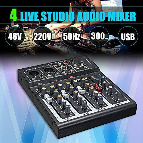 Mini Amplificador Mezclador de Audio de Karaoke de 4 Canales Micrófono Profesional Que Mezcla la Consola de Sonido con 48V...