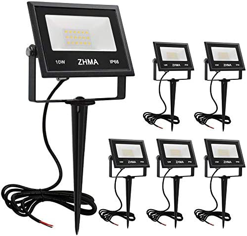 ZHMA 10W LED Landscape Lights Low Voltage 12V Waterproof Garden Flood Light Path Light for Yard, Lawn, Wall, Trees Lighting, Outdoor Spotlights Path Light with Spike Stand,Warm White 6 Pack