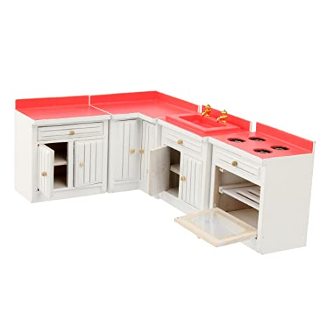 Amazon Com Baoblaze Miniature Kitchen Furniture Wooden Cabinet Set