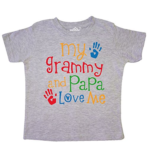 inktastic - Grammy and Papa Love Me Toddler T-Shirt 2T Heather Grey 3033b