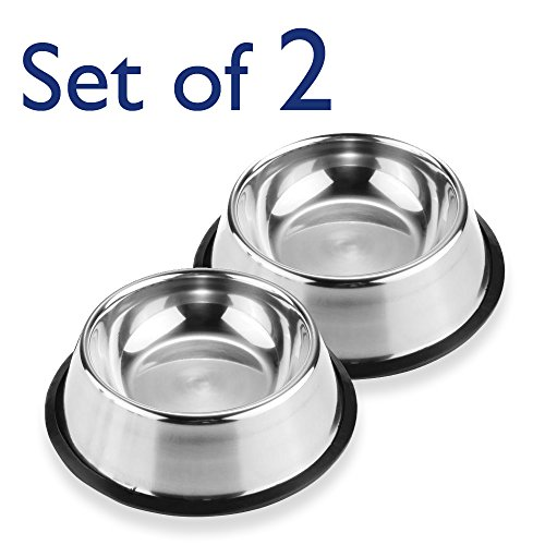 Pet Bowls for Smaller Dogs & Cats. Wipe Clean, Stainless Steel Non-Skid Bottom for Dogs, Puppies, Cats, Kittens, Rabbits & more. Set of 2 by Trac-less Pet Bowl