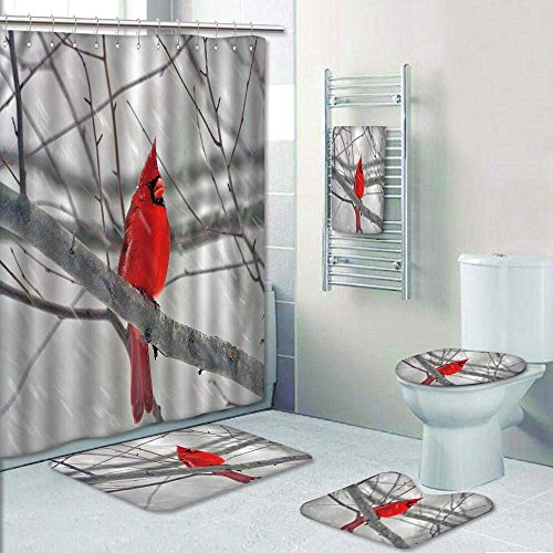 5piece Bathroom Setcardinal in winter Prints decorate the bathroom1Shower Curtain3Mats1Bath towelLarge