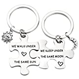MAOFAED Puzzle Keychain Set Long Distance Relationship Keychain Set for Couples Love Gift Friendship Gift (Under the same Moon/Sun)