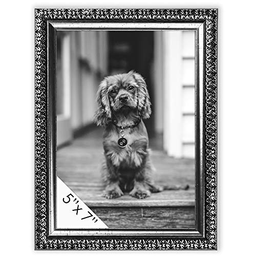 - DecorRack Picture Frame 5x7 inches Rustic Decor Photo Frames for Document, Certificate, Baby, Family, Cat and Dog Prints, Wall or Desk Photo Display in Antique Silver Ornate Design (1 Pack)