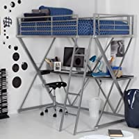 Duro Duro Z Bunk Bed Loft with Desk -, Silver, Metal, Twin Loft Bed