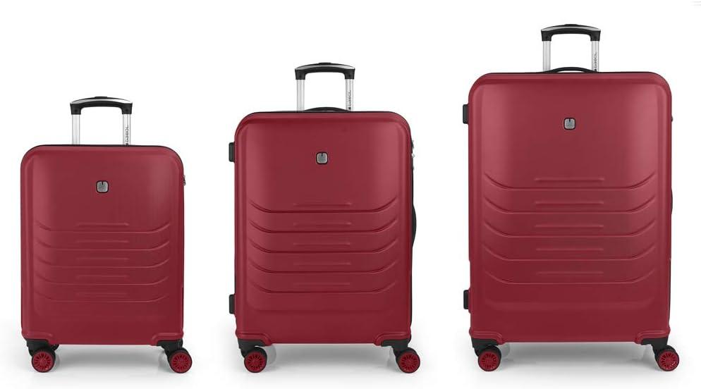 Gabol - Vasili   Set de 3 Maletas de Viaje con Trolley de Cabina, Maleta Mediana y Maleta Grande de Color Rojo