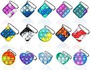 NUENUN 15PCS Fidget Toy Mini Stress Relief Hand Toys Keychain Toy Bubble Wrap Pop Anxiety Stress Reliever Offi