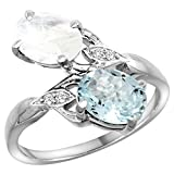 10K White Gold Diamond Natural Aquamarine & Rainbow Moonstone 2-stone Ring Oval 8x6mm, sizes 5 - 10