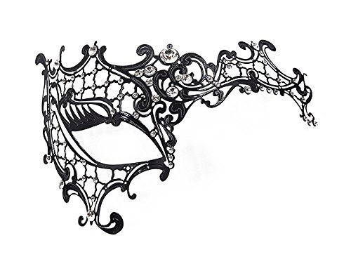 Sexy Luxury Masquerade Mask for Women Metal Rhinestone Venetian Eye Mask -