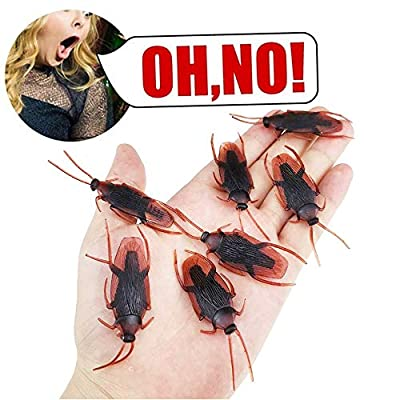 Lifelike Fake Cockroach Prank Prop, Scary Fake Cockroach Roaches Bugs Realistic Insects for Family Party/Halloween Party Favors, Halloween Stage Props, Halloween Decorations (50pcs/80pcs) (50 PCS): Toys & Games