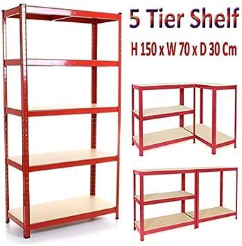 Black 5 Tier Garage Shelving Units 150cm x 70cm x 30cm 875KG Capacity Garage Shed Storage Shelving Units