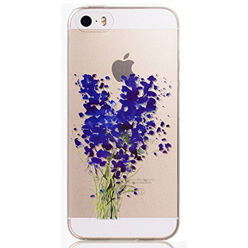 ANYPHONE-for iPhone 5 5S 5G Crystal Pictorial Transparent Phone Case Ultra-thin Flowers Patterns Soft Silicone Cover Skin