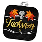 3dRose Doreen Erhardt Autumn Collection - Fall Colors and Chalkboard Style Swedish Language for Gratitude - 8x8 Potholder (PHL_290937_1)