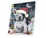 Have a Holly Jolly Christmas French Bulldogs Dog in Holiday Background Art Portrait Print Woven Throw Sherpa Plush Fleece Blanket D065 (60x80 Fleece)