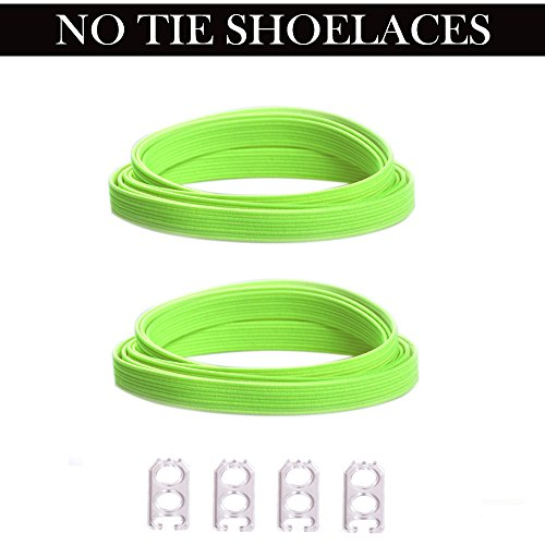 DB No Tie Laces (Elastic No Tie Shoe Laces)One Size Fits All Adult and Kids Neon Green Shoe Strings