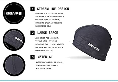 kizh Swim Cap Waterproof Unisex Premium Earmuffs Chinlon Bathing Cap for Long Short Hair for Adults Woman and Men