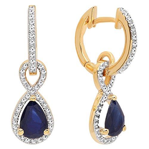 (14K Yellow Gold 7X5 MM Pear Cut Blue Sapphire & Round White Diamond Ladies Dangling Drop Earrings)