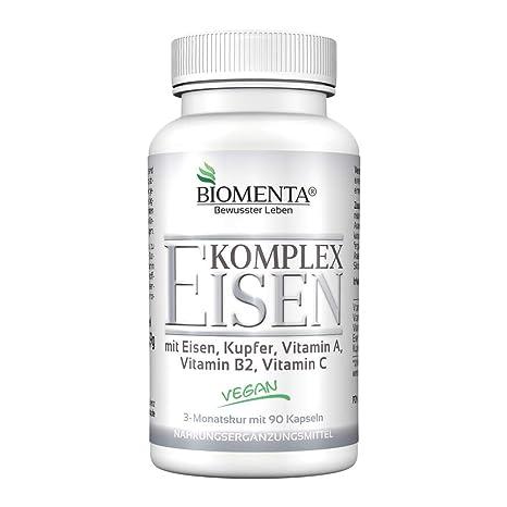 Biomenta Eisen COMPLEJO - con Eisen, Cobre, Vitamina A, vitamina B2, Vitamina