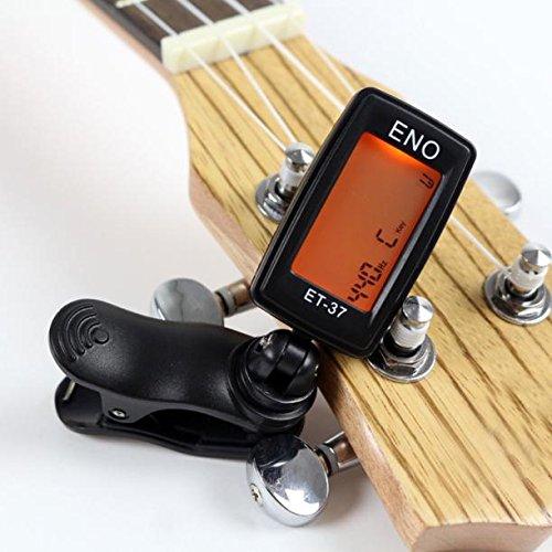 Sujetador de guitarra con clip y sintonizador de LED ♪automático Clip en sintonizador ♪digital para ukelele violín bajo ♪guitarra eléctrica acústica ...