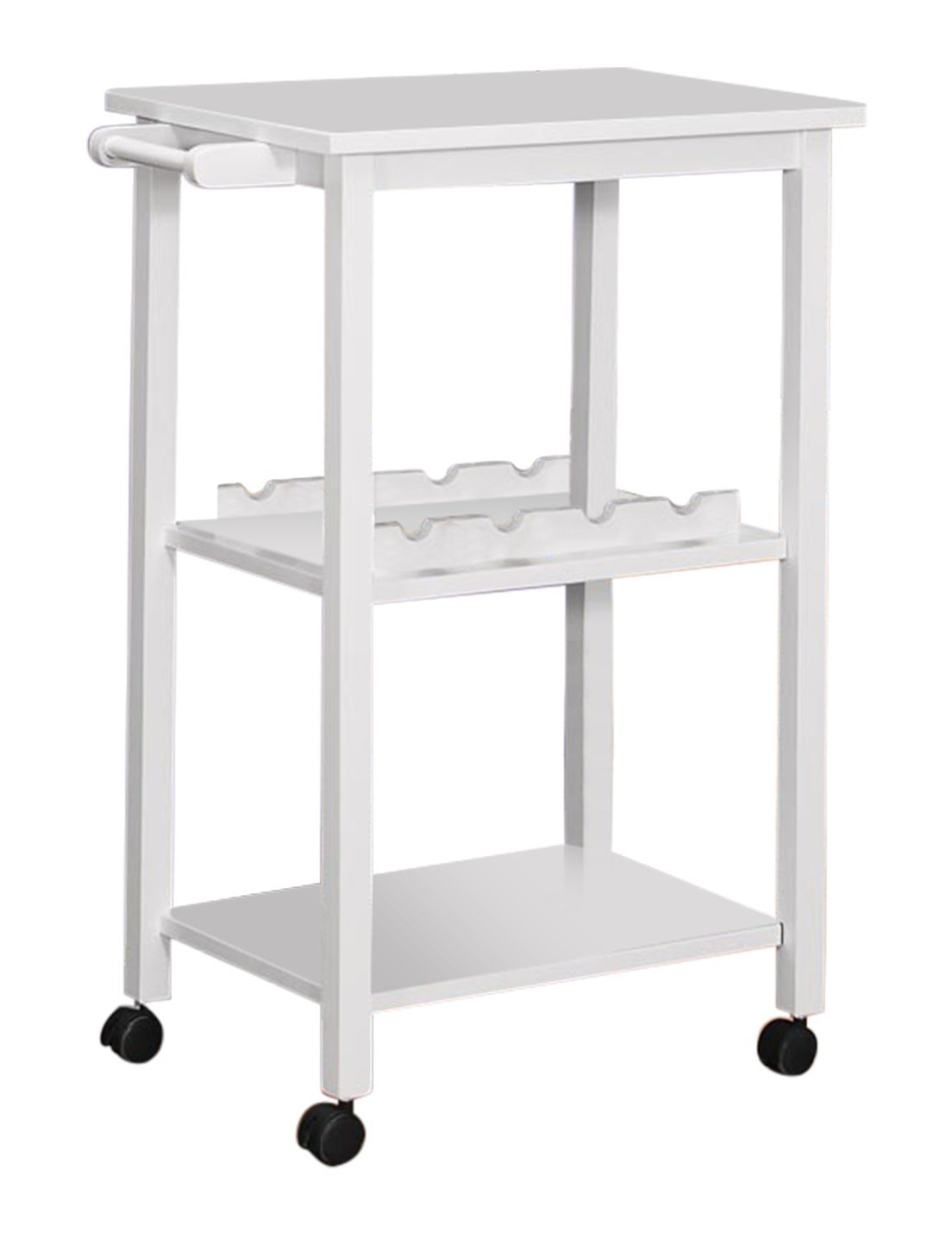 Kings Brand Furniture Wood Kitchen Storage Serving Cart Wine Rack, White