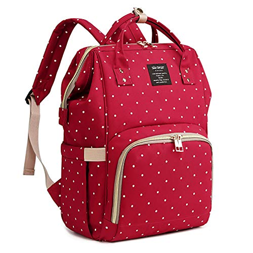 Qimiaobaby Diaper Bag Backpack, baby Nappy storage travel bag (Red dot)