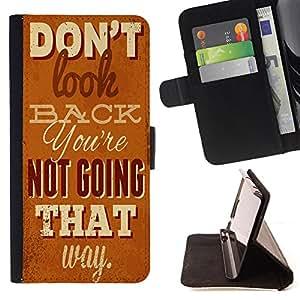 Skull Market - FOR Apple Iphone 6 PLUS 5.5 - don't look buck - Caja de la carpeta del tirš®n del cuero de la PU [con ranuras para tarjetas y cierre de solapa magnšŠtica] Pš¢rese cubierta de la caja