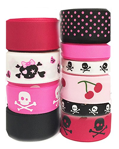 Pin Up Costume Diy (HipGirl Halloween Grosgrain or Satin Fabric Ribbon for Holiday Pirate Party Decoration, Hair Bow Accessory, Scrapbook, Match Your Costumes-- 50 Yard 3/8 - 7/8 Inch Skull Rockabilly Pin Up, Cherry)