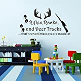 "Wall Decal Decor Rifles Racks, Deer Tracks That's What Little Boys Are Made Of - Baby Boy Nursery Decor - Hunting Theme Camo Deer Room Crib(Black, 12""h x22""w)"