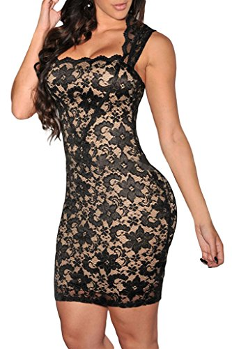 Dear-Lover Women's Vintage Slim Fit Lace Party Dress