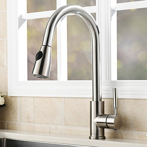 VAPSINT Modern Stainless Steel Single Handle Single Hole Pull Out Spray Kitchen Faucet, Brushed Nickel Pull Down Kitchen Sink (Single Hole Pull Out Spray)