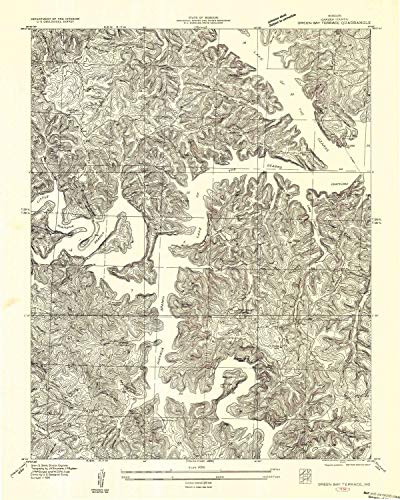 Terrace Bay - YellowMaps Green Bay Terrace MO topo map, 1:24000 Scale, 7.5 X 7.5 Minute, Historical, 1934, Updated 1957, 26.6 x 21.4 in - Paper