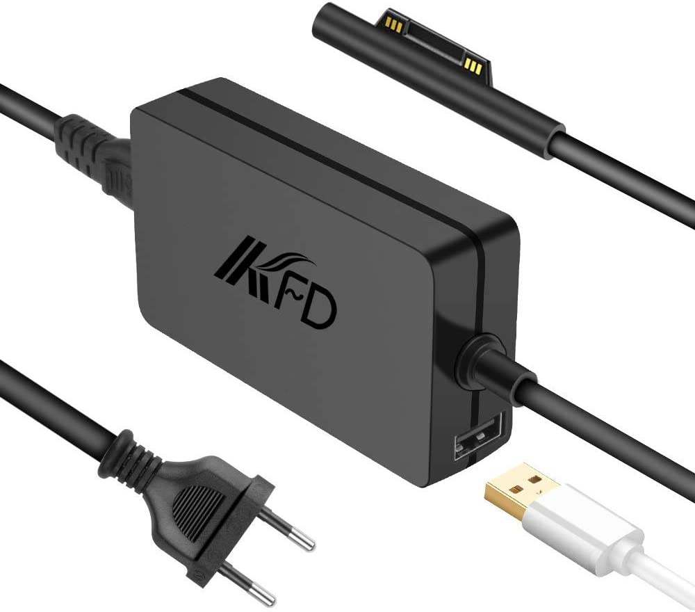 KFD Adaptador 15V 4A 65W Cargador Portatil para Microsoft Surface Book, Surface Laptop, Surface Pro 6, Surface Go, Surface Pro 3 Pro 4 Pro 5 Modelo 1706 1800 1735 Tableta PC con 5V Puerto USB