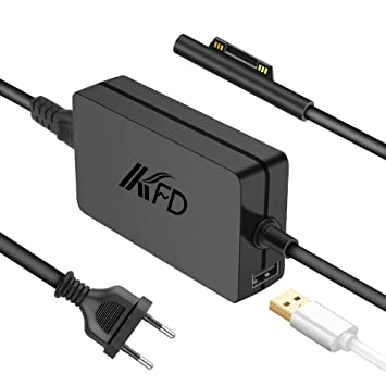 KFD Adaptador 15V 4A 65W Cargador Portatil para Microsoft Surface Book, Surface Laptop, Surface Pro 6, Surface Go, Surface Pro 3 Pro 4 Pro 5 Modelo ...
