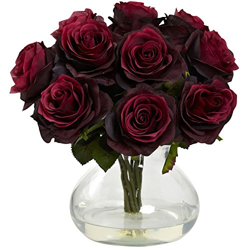 Nearly Natural 1367-BG Rose Arrangement with Vase, Burgundy -