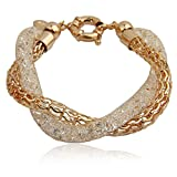 Bamoer Women Gold Plate Multi Stranded Italian Style Austrian Crystal Mesh Twisted Bracelet Gift for Mom Wife Girlfriend