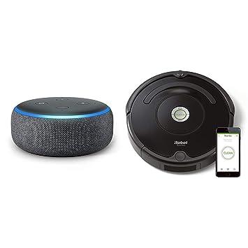 Echo Dot gris antracita + iRobot Roomba 671 - Robot aspirador suelos duros y alfombras,
