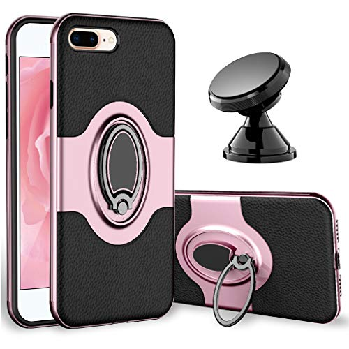 iPhone 7 Plus Case, iPhone 8 Plus Case - eSamcore Ring Holder Kickstand Cases + Dashboard Magnetic Phone Car Mount for iPhone 7/8 Plus [Rose Gold]