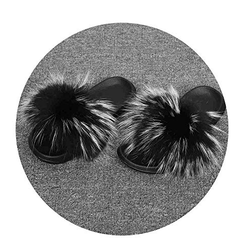 NDJqer Women's Shoes Real Raccoon Fur Slippers Natural Raccoon Fur Slides Lady's Fashion Sliders,Raccoon Black Frost,8