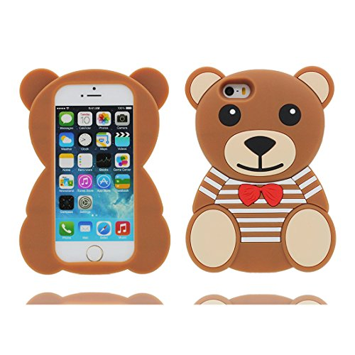 iPhone 5S Custodia, iPhone 5 SE 5C 5G Copertura, Carina TPU Case Cartoon 3D Cover ( Cartoon orso Stripe Bowknot bear Marrone ) shell morbido