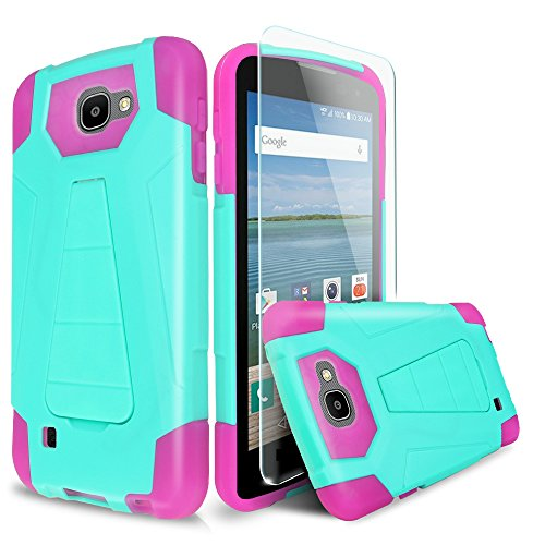 For LG Optimus Zone 3/LG Spree/LG Rebel VS425/LG K4 L44VL Case With TJS® Tempered Glass Screen Protector Included, Dual Layer Shockproof Hybrid Armor Drop Protection Built-in Kickstand (Pink/Teal) (Lg Optimus Sprint Case compare prices)