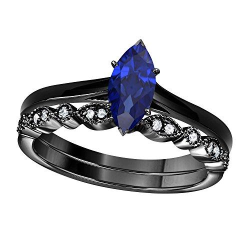(Gems and Jewels 1.00 Ct Marquise Shape & Round Cut Blue Sapphire & White CZ Diamond 14k Black Gold Plated Art Deco Vintage Design Wedding Bridal Set Engagement Ring)