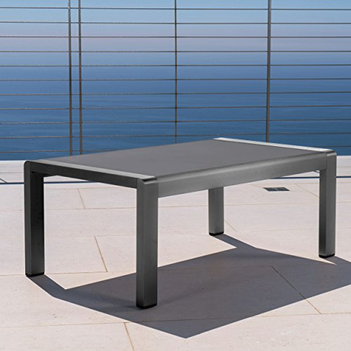 Crested Bay Patio Furniture | Outdoor Grey Aluminum Coffee Table with Tempered Glass Table Top