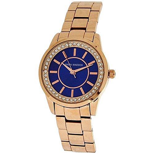 Mark Maddox Ladies Rhinestone Set Blue Dial Bracelet Strap Watch MM0007-37