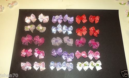 40 Dog Hair Bows -Red/Pink/Purple Collection Polka-Dot and Solid Color Bows with Beads or Flowers – Wholesale Lot for Groomers – Handmade
